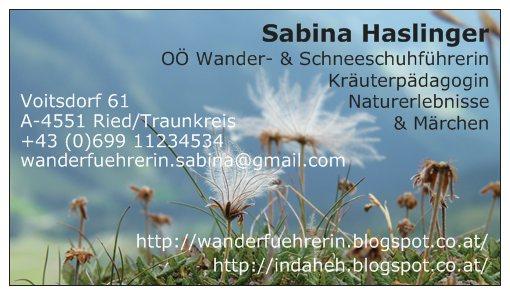 Visitenkarte Sabina Haslinger Wanderführerin